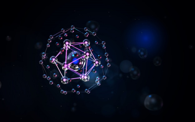 Abstract dark background with dna mesh and glowing shining bokeh of a variety of lenses.