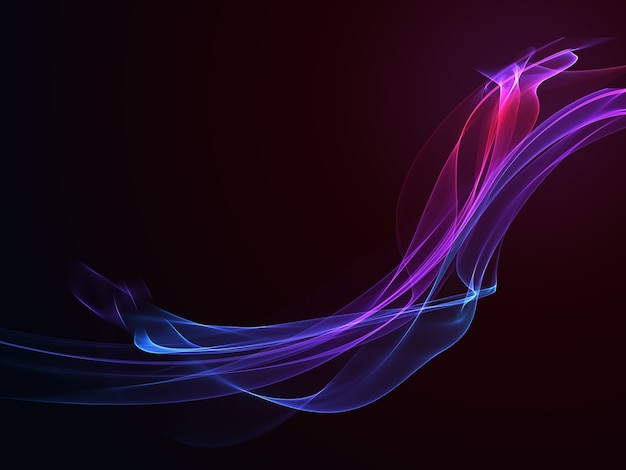 Abstract dark background with flowing colouful waves