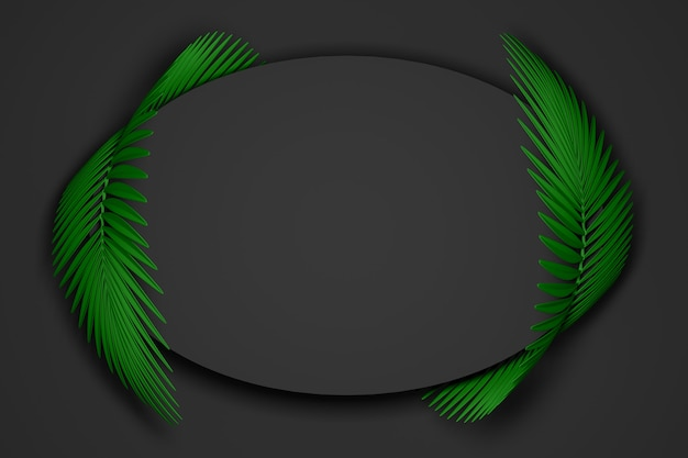 Abstract dark black and green modern background of oval frame surrounded by two rounded fluffy palm leaves. 3d illustration.3d render
