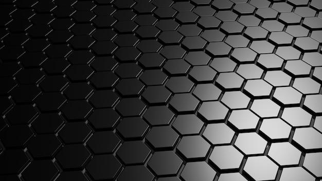 추상 어두운 검은 금속 육각형 3d 렌더링
