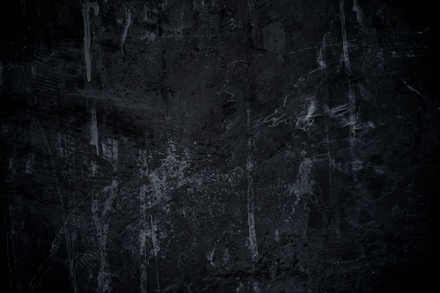 Abstract dark black paint with brush and cement wall texture background
