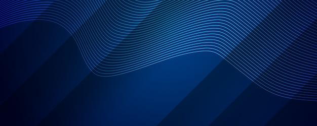 ダイナミックなウェーブラインストライプ効果を持つ抽象的な濃い青の背景