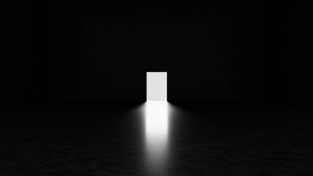 Abstract dark concrete room with open door and light going through it.3d render illustration.