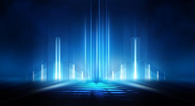 Абстрактный темный футуристический фон синие неоновые световые лучи отражаются от воды