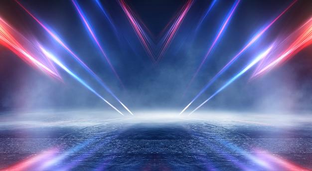 추상 어두운 미래 배경 블루 네온 광선은 물에서 반영