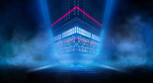 抽象的な暗い未来的な背景青いネオン光線は水に反射します