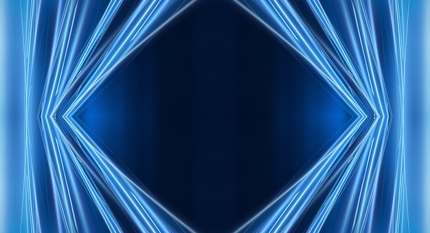 추상 어두운 미래 배경 블루 네온 광선 반영