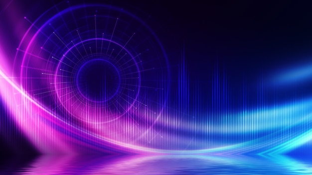 Абстрактный темный футуристический фон. лучи неонового света, круглая форма лазера отражаются от воды. предпосылка пустого сценического шоу, пляжной вечеринки.