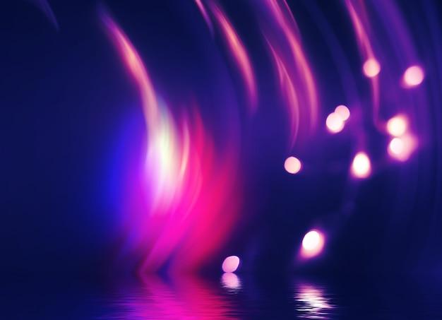 추상 어두운 미래 배경입니다. 자외선 네온 광선이 물에서 반사됩니다. 빈 무대 쇼, 해변 파티의 배경. 3d 그림
