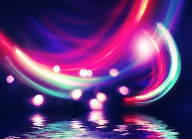 추상적이고 어두운 미래 배경 자외선 네온 광선이 물에 반사됩니다