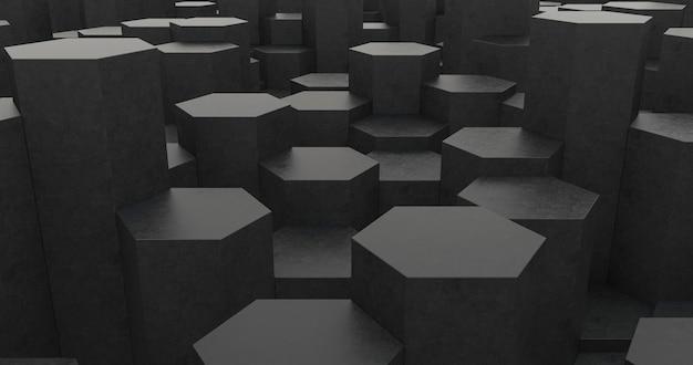 Абстрактный фон геометрии темный шестиугольник. 3d иллюстрации.