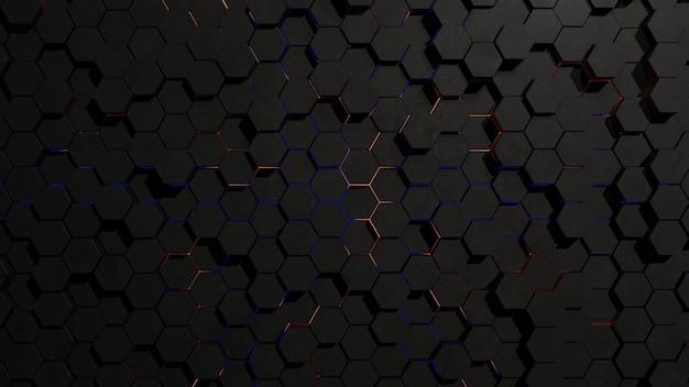 Abstract dark hexagon grid topology with rim light