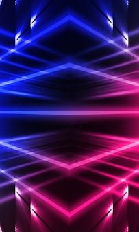 ネオン光線、青と赤のネオンで抽象的な暗い壁。線の対称反射。現代の未来的なネオンの壁。空のステージ、夜景。