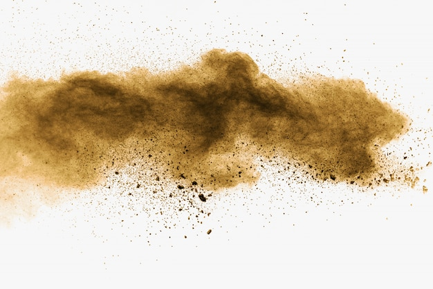 Abstract deep brown dust explosion on white background.