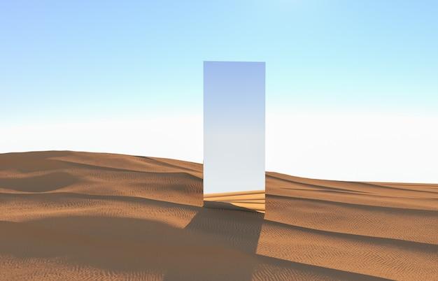 Абстрактная предпосылка пустыни с фоном подиума зеркала. 3d визуализация.
