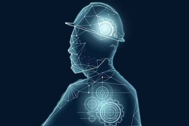 인간의 머리 개요에서 기어의 추상적 인 디자인.