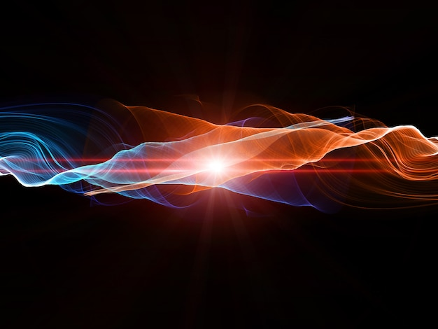Abstract design with flowing lines in hot and cold colours