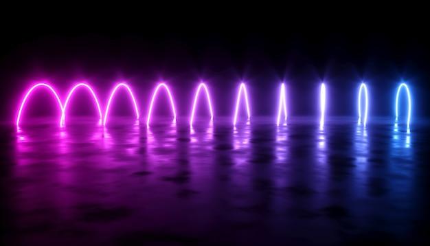 어두운 배경에 네온 레이저 광선으로 추상 디자인, 3d 일러스트