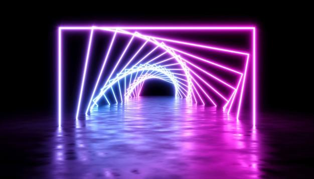 暗い背景、3dイラストにネオンレーザーの輝きと抽象的なデザイン