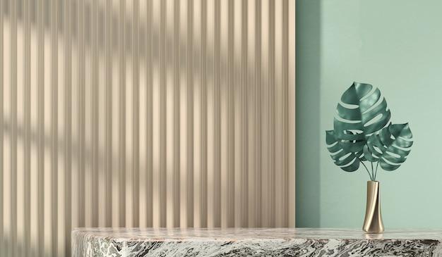 제품 디스플레이 광고용 추상 책상 및 식물