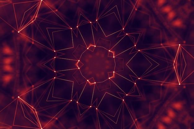 点と線を結ぶ抽象的なデジタル背景。情報技術の幾何学的データグリッド