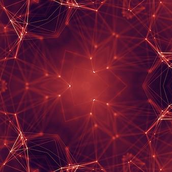点と線を結ぶ抽象的なデジタル背景。情報技術の幾何学的データ