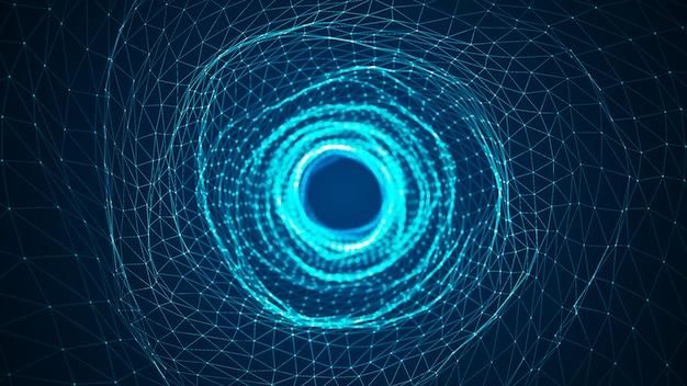 抽象的なデジタル背景。デジタルノードで作られたデジタルデータトンネル。ネットワーク、ビッグデータ、データセンター、サーバー、インターネット、速度のためのラインと未来技術の抽象的な背景。