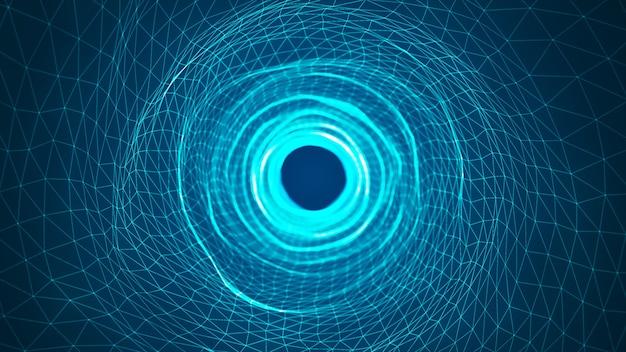 추상 디지털 배경입니다. 디지털 노드로 구성된 디지털 데이터 터널. 네트워크, 빅 데이터, 데이터 센터, 서버, 인터넷, 속도에 대한 라인과 미래의 기술 추상적 인 배경.