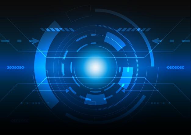 추상 디지털 배경, 하이테크 디지털 기술 개념, 푸른 빛 사이버 공간