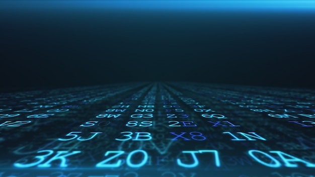Abstract digital background. machine code. hexadecimal code. random digits and letters colored 3d illustration.