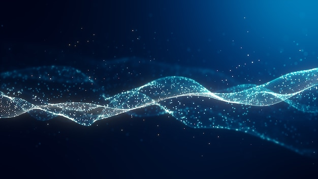 Abstract digital blue color wave with flowing small particles dance motion on wave and light abstract background. cyber or technology background.