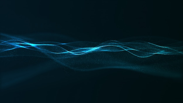 Abstract digital blue color wave with flowing small particles
