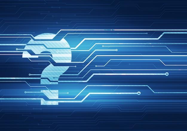 Абстрактная цифровая иллюстрация концепции значка вопросительного знака на стене микросхемы цепи.