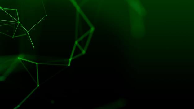 点と線を動かす抽象的なデジタル接続。緑の神経叢の抽象的な表面。