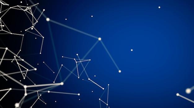 点と線を動かす抽象的なデジタル接続。テクノロジーの表面。