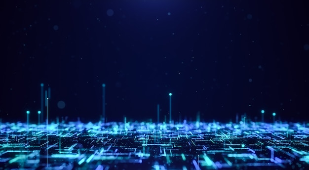 Абстрактный фон потока частиц цифровой футуристической матрицы, концепция технологии киберпространства синяя светящаяся неоновая линия