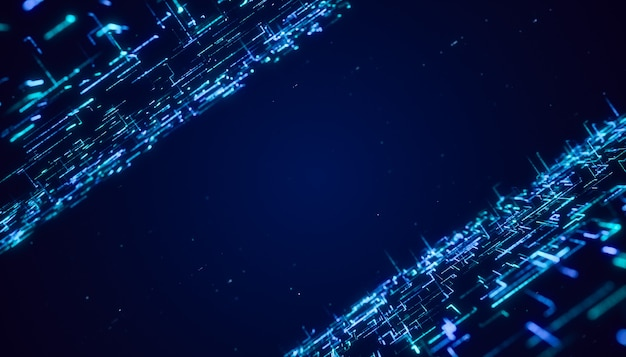 Abstract digital futuristic matrix particle flow background, flying through blue glowing neon big data line cyberspace technology  concept