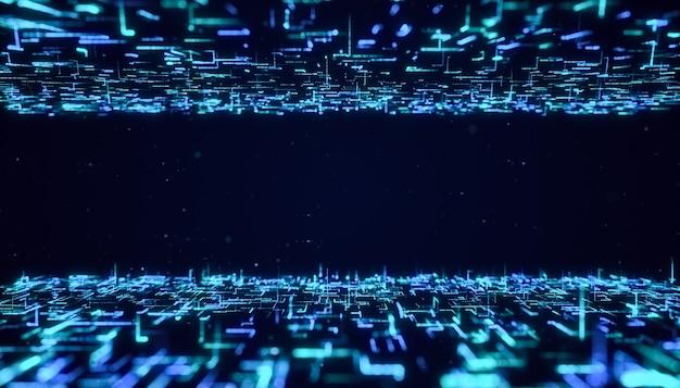 Абстрактный фон потока частиц цифровой футуристической матрицы