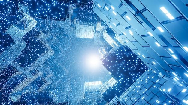 抽象的なデジタル未来のsfの背景、ビッグデータ、コンピューターハードウェア、ネットワーク、青いネオンライト、3dモデルとイラスト。