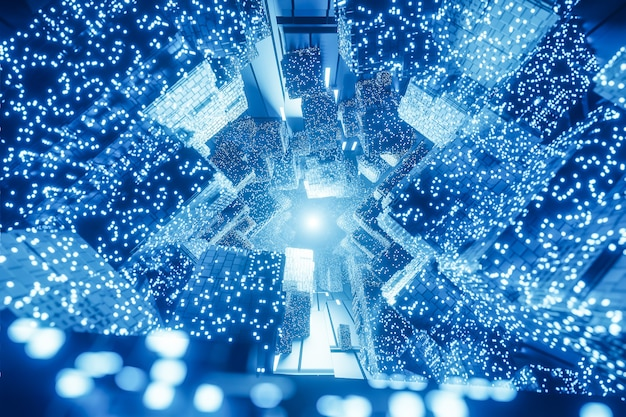 Abstract digital futuristic sci-fi background, big data, computer hardware, network, blue neon light, 3d model and illustration