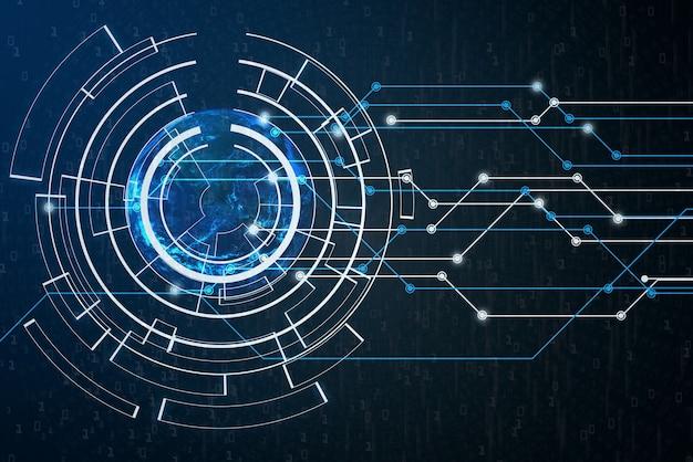 Nasaによって提供されたこの画像のバイナリコード要素を使用した抽象的なデジタルグローバルネットワーク接続