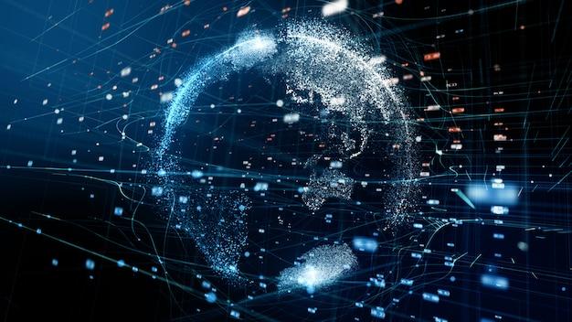 과학 기술 데이터 네트워크의 추상 디지털 글로브 -3d 렌더링.