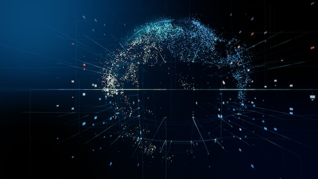 抽象的なデジタルグローブ。科学技術データネットワークの3dレンダリング。