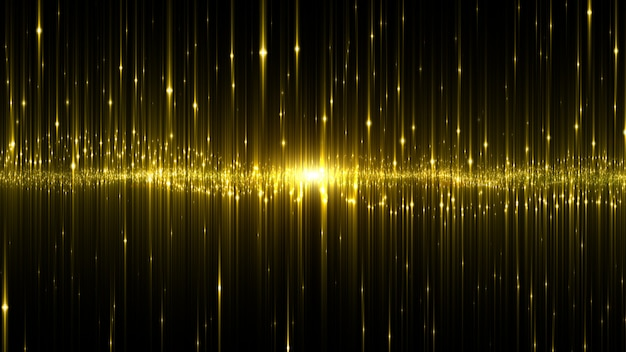 Abstract digital glowing neon light gold color background.