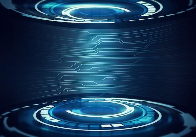 Abstract digital illustration of futuristic round interior