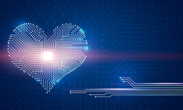 Abstract digital illustration of microchip board on heart shape on blue wall.
