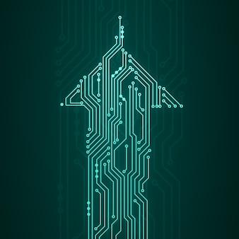 Абстрактная цифровая иллюстрация платы с микрочипом в форме стрелки, движущейся вверх на темно-зеленой стене. изображение концепции технологии.