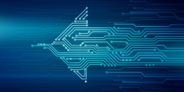 Абстрактная цифровая иллюстрация платы с микрочипом в форме стрелки, движущейся справа налево на синей стене. изображение концепции технологии.
