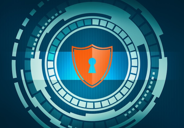 회로 마이크로 칩 벽에 보안 및 안전 방패 아이콘이있는 터치 스크린 원 인터페이스의 추상 디지털 그림.