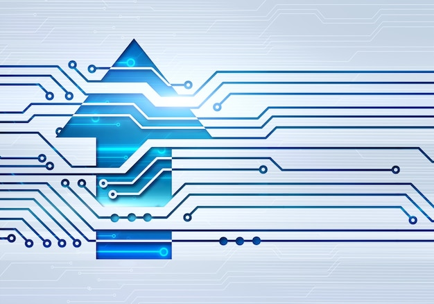 Абстрактная цифровая иллюстрация стрелки вверх на стене микросхемы цепи
